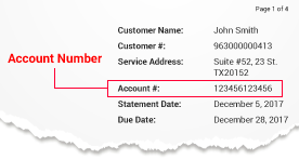 Sample image of a bill showing the account number
